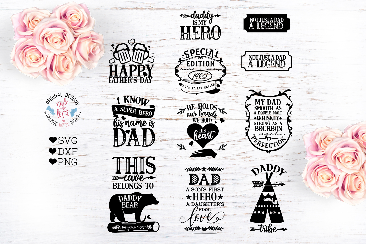Download Free Father S Day Cut Bundle Graphic By Graphichousedesign Creative for Cricut Explore, Silhouette and other cutting machines.