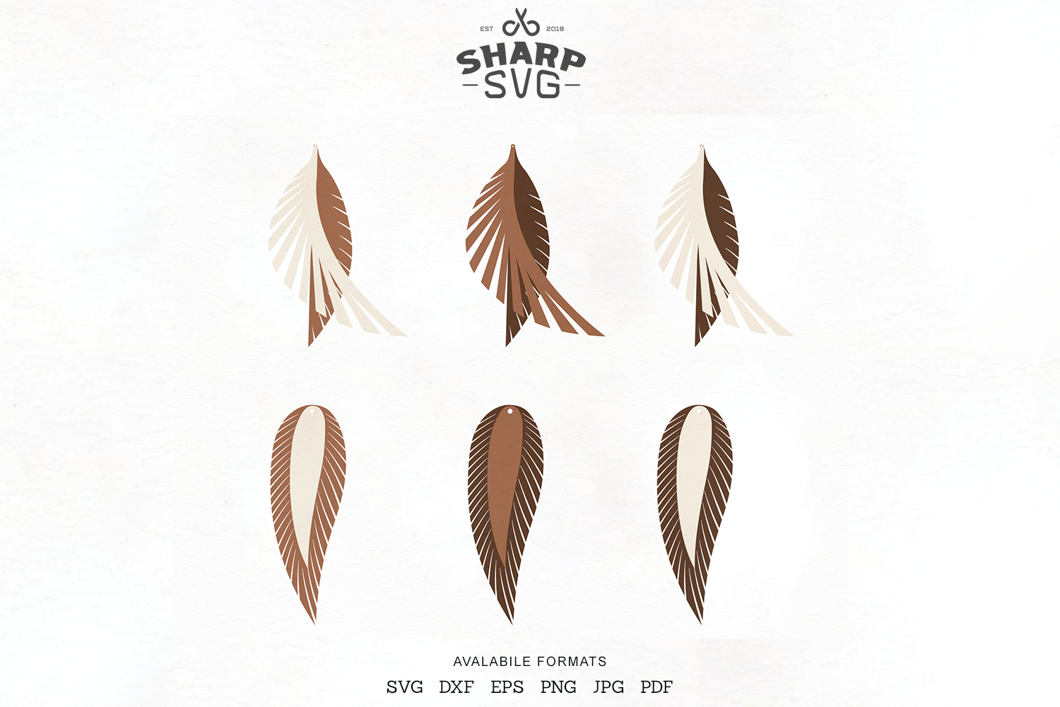 Download Free Feather Leather Earrings Earrings Graphic By Sharpsvg Creative for Cricut Explore, Silhouette and other cutting machines.