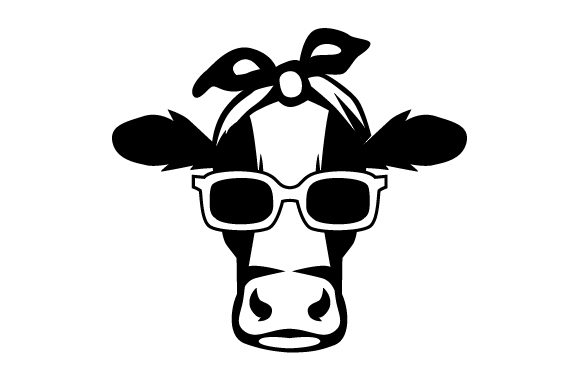 Female Cow  with Bandanna and Sun Glasses Farm & Country Craft Cut File By Creative Fabrica Crafts - Image 1