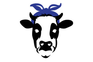 Female Cow  with Blue Bandanna Craft Design By Creative Fabrica Crafts