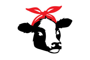 Female Cow  with Red Bandanna in Semiprofile Craft Design By Creative Fabrica Crafts
