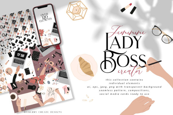 Feminine Lady Boss Creator Graphic Illustrations By BilberryCreate