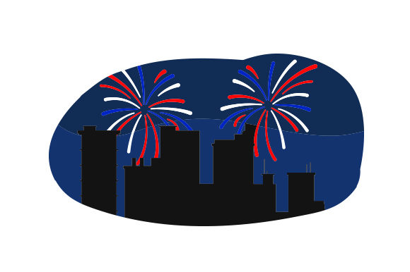 Fireworks over City Independence Day Craft Cut File By Creative Fabrica Crafts