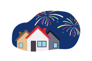 Fireworks over Houses Craft Design By Creative Fabrica Crafts