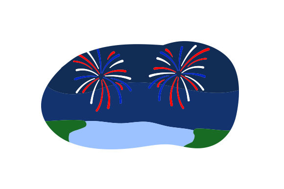 Fireworks over Lake Independence Day Craft Cut File By Creative Fabrica Crafts