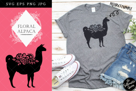 Floral Alpaca Silhouette Vector Graphic Crafts By thesilhouettequeenshop