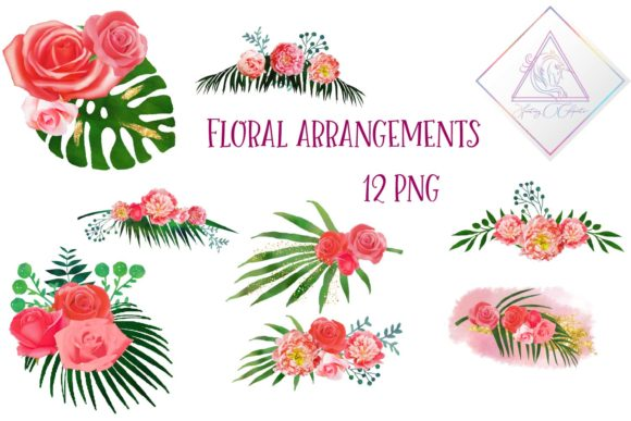Print on Demand: Floral Arrangements Clipart Graphic Illustrations By fantasycliparts - Image 1