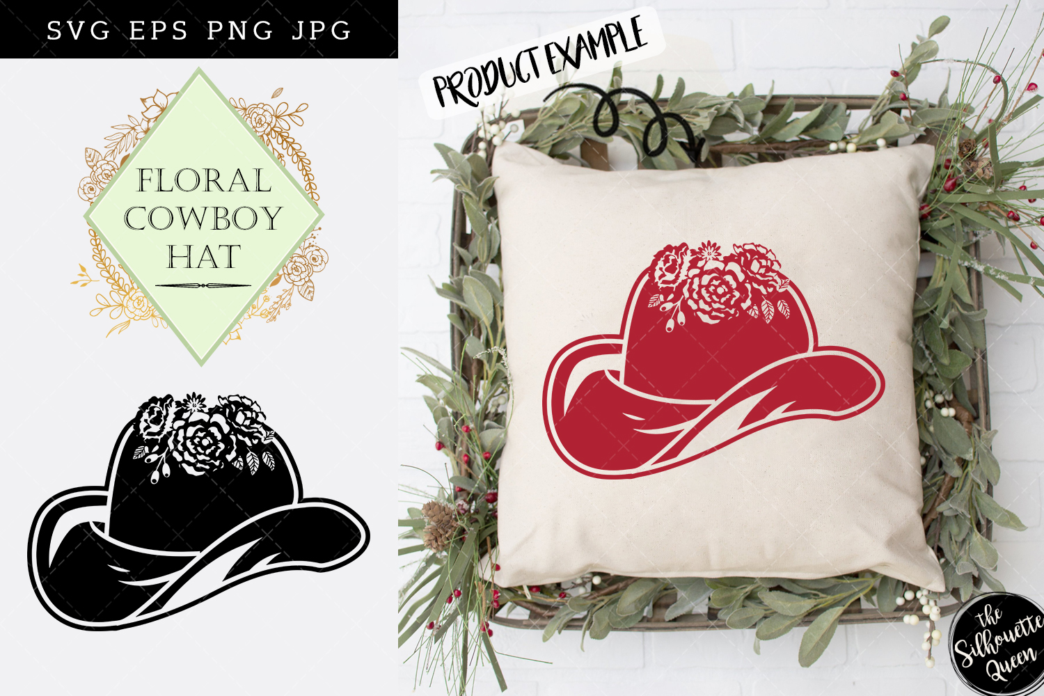 Floral Cowboy Hat Silhouette Vector Graphic By