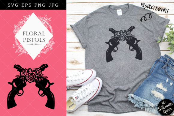 Floral Crossed Pistols Silhouette Vector Graphic Crafts By thesilhouettequeenshop