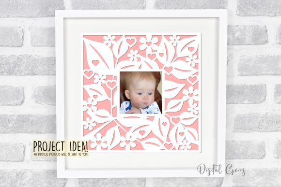 Floral Frame Papercut Design Graphic By Digital Gems Image 2