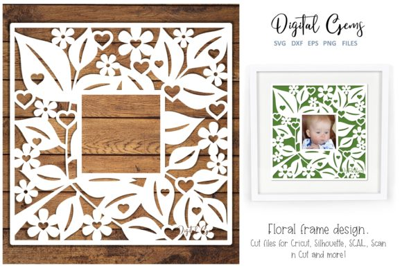 Floral Frame Papercut Design Graphic By Digital Gems Image 1