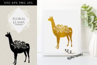 Download Free Floral Llama Silhouette Vector Graphic By Thesilhouettequeenshop for Cricut Explore, Silhouette and other cutting machines.
