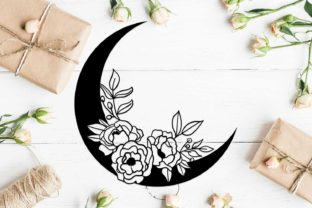 Download Free Floral Moon Design Graphic By Helartshop Creative Fabrica for Cricut Explore, Silhouette and other cutting machines.