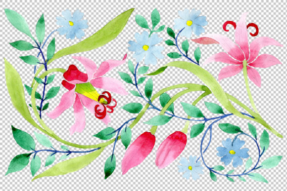 Download Free Floral Pattern Pink Watercolor Png Graphic By Mystocks for Cricut Explore, Silhouette and other cutting machines.