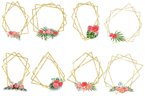 Print on Demand: Floral Polygonal Frames Graphic Illustrations By fantasycliparts - Image 2