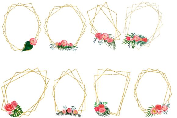 Print on Demand: Floral Polygonal Frames Graphic Illustrations By fantasycliparts - Image 3