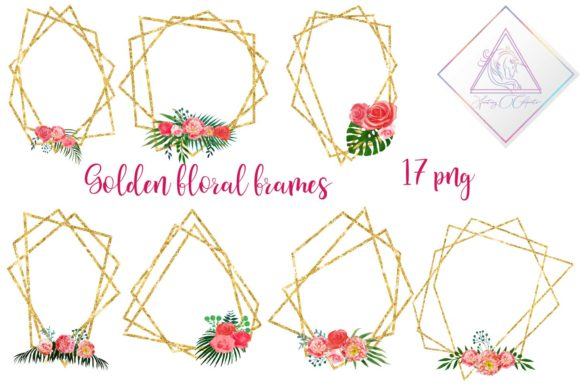 Print on Demand: Floral Polygonal Frames Graphic Illustrations By fantasycliparts - Image 1