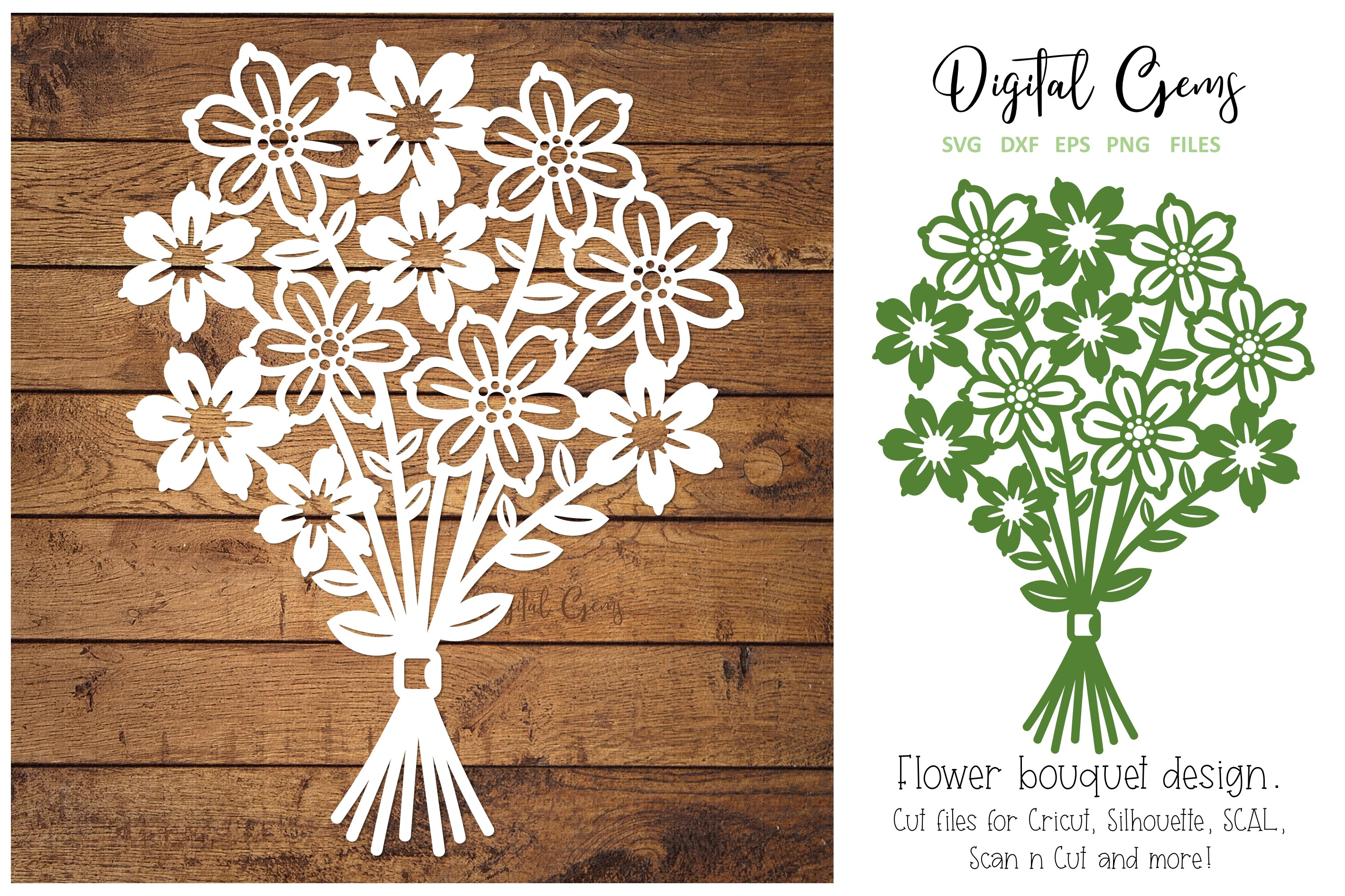 Download Free Flower Bouquet Papercut Design Graphic By Digital Gems for Cricut Explore, Silhouette and other cutting machines.