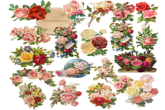 Print on Demand: Flower Clipart, Roses Clip Art Graphic Illustrations By retrowalldecor - Image 1