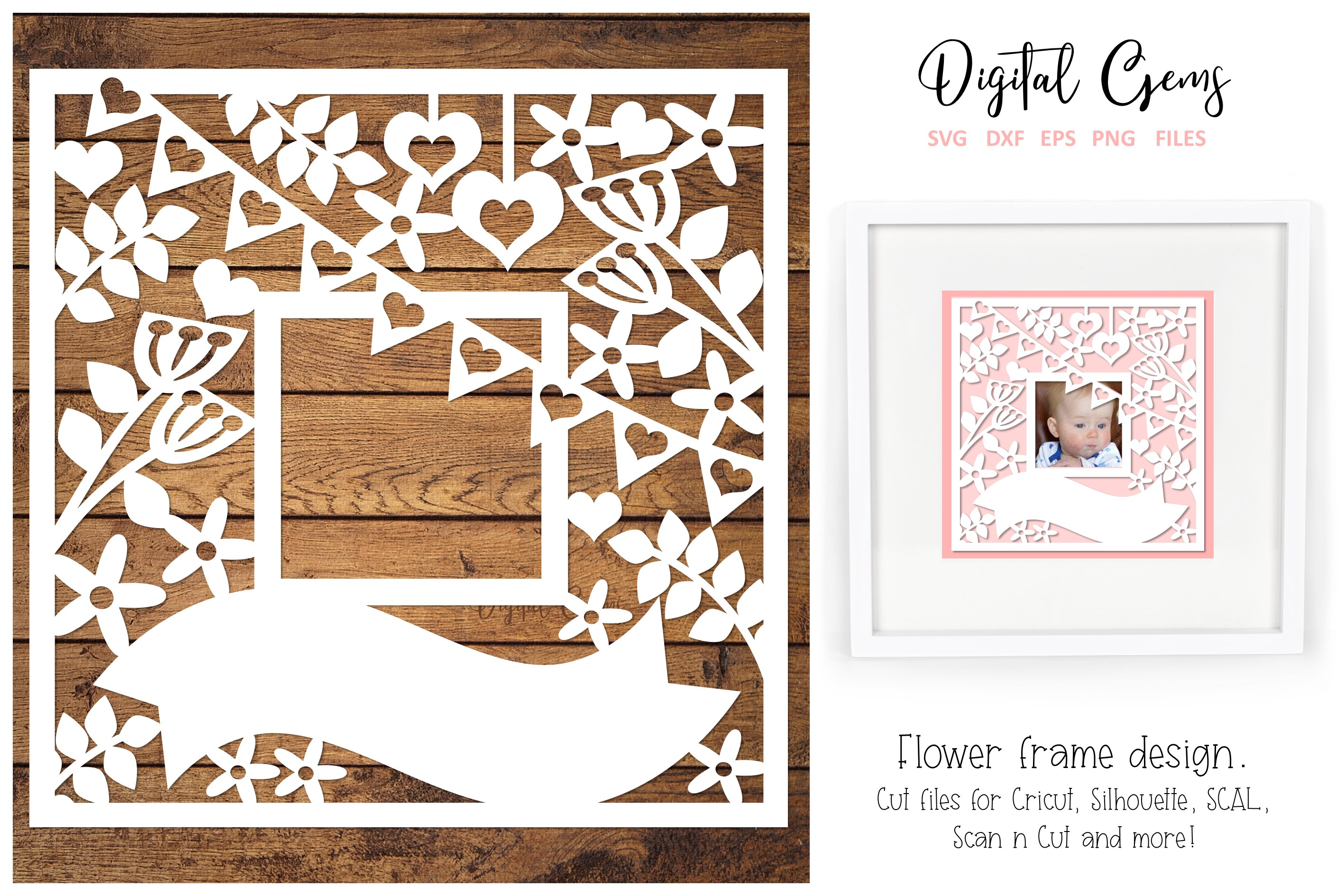 Download Free Flower Frame Design Graphic By Digital Gems Creative Fabrica for Cricut Explore, Silhouette and other cutting machines.
