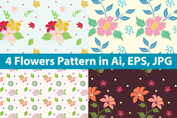 Print on Demand: Flowers Pattern Bundle Graphic Patterns By purplebubble