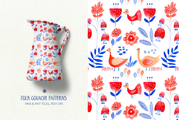 Folk Gouache Patterns Graphic Patterns By webvilla - Image 3