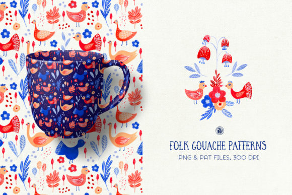 Print on Demand: Folk Gouache Patterns Graphic Patterns By webvilla