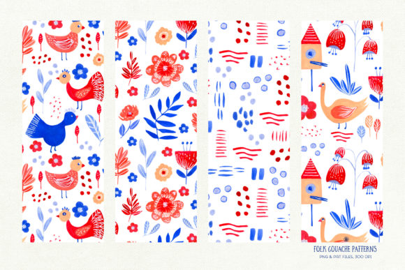 Folk Gouache Patterns Graphic Patterns By webvilla - Image 7