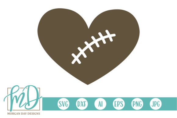 Print on Demand: Football Heart Graphic Crafts By Morgan Day Designs