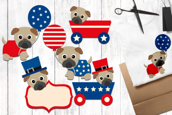 Print on Demand: Fourth of July Pugs Graphic Illustrations By Revidevi