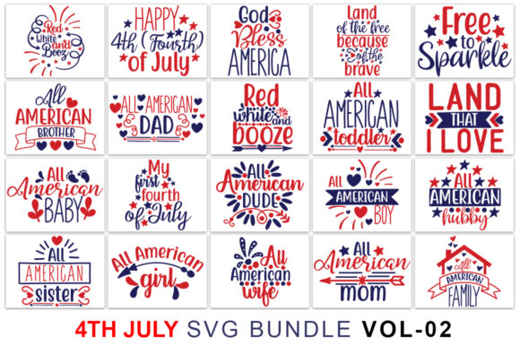 Fourth of July SVG Bundle Graphic Print Templates By Graphicsqueen