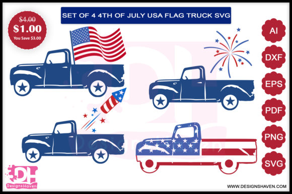 Print on Demand: Fourth of July Truck Bundle Graphic Print Templates By DesignsHavenLLC