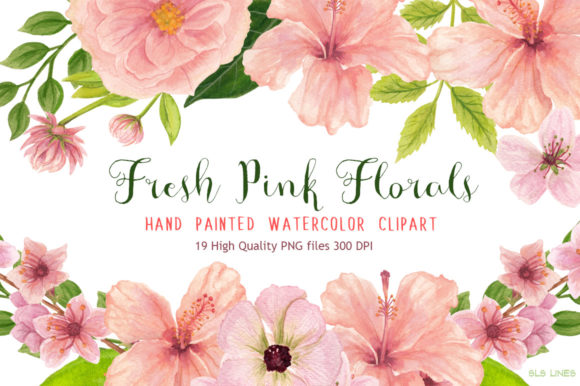 Fresh Pink Hibiscus Floral Watercolors