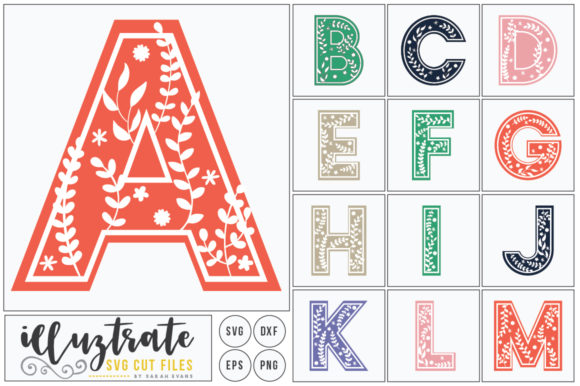 Print on Demand: Full Floral Alphabet SVG Cut File Bundle Graphic Crafts By illuztrate