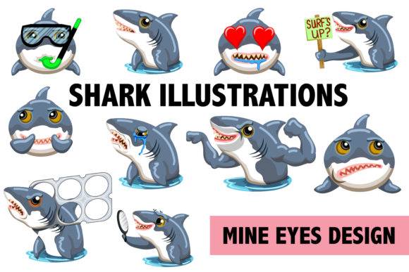 Print on Demand: Fun Shark Illustrations Graphic Illustrations By Mine Eyes Design