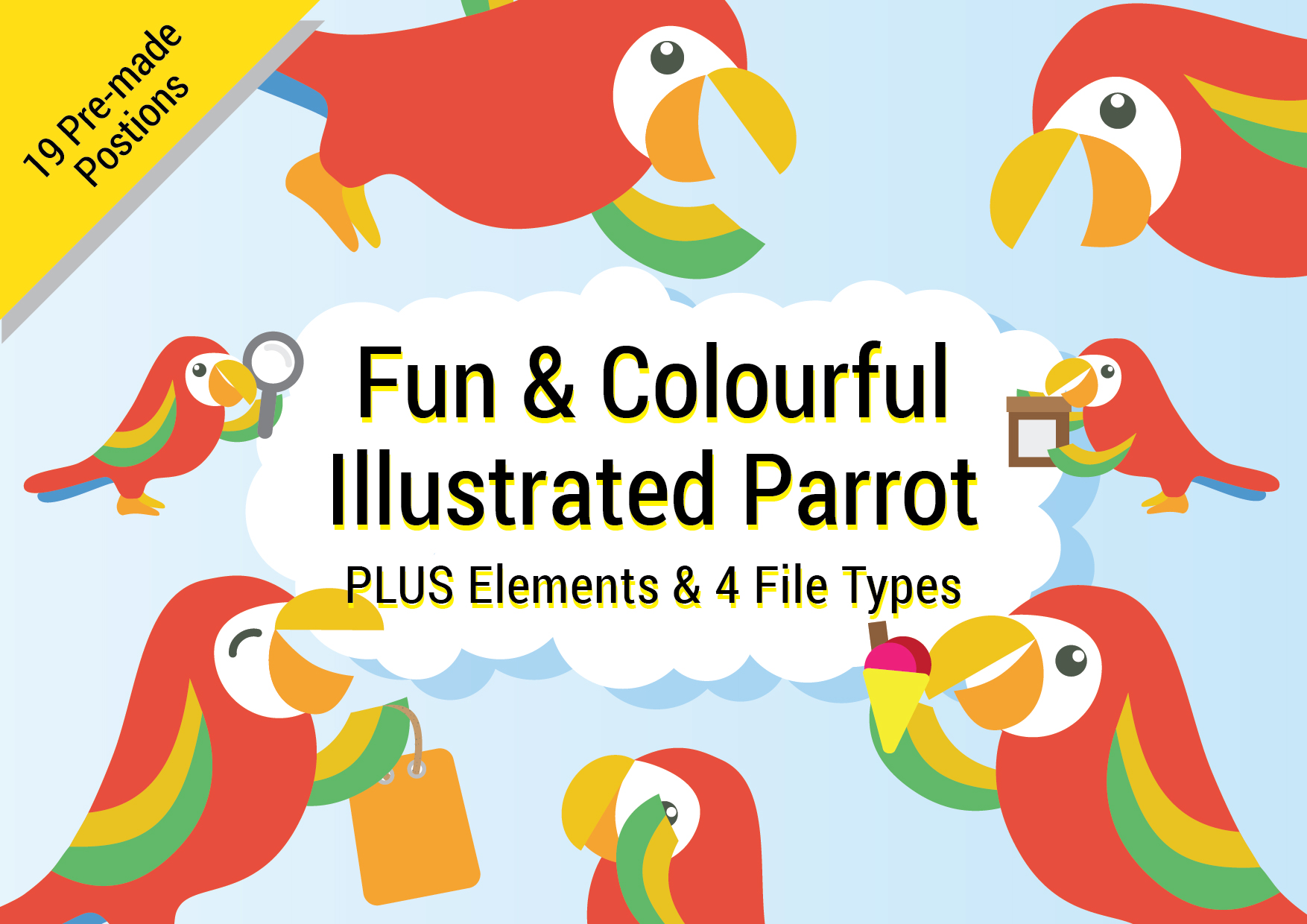 Fun and Colourful Illustrated Parrot