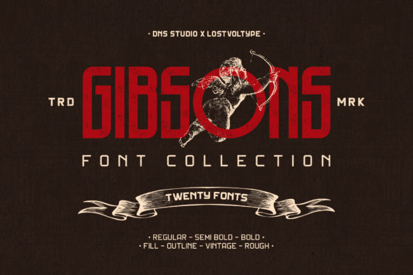 Print on Demand: Gibsons Family Display Font By LostvolType - Image 1