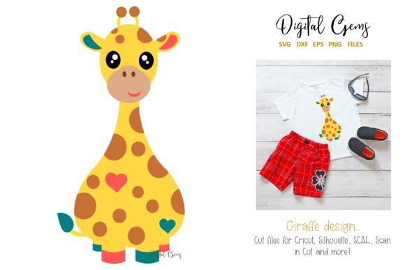 Download Free Giraffe Design Graphic By Digital Gems Creative Fabrica for Cricut Explore, Silhouette and other cutting machines.