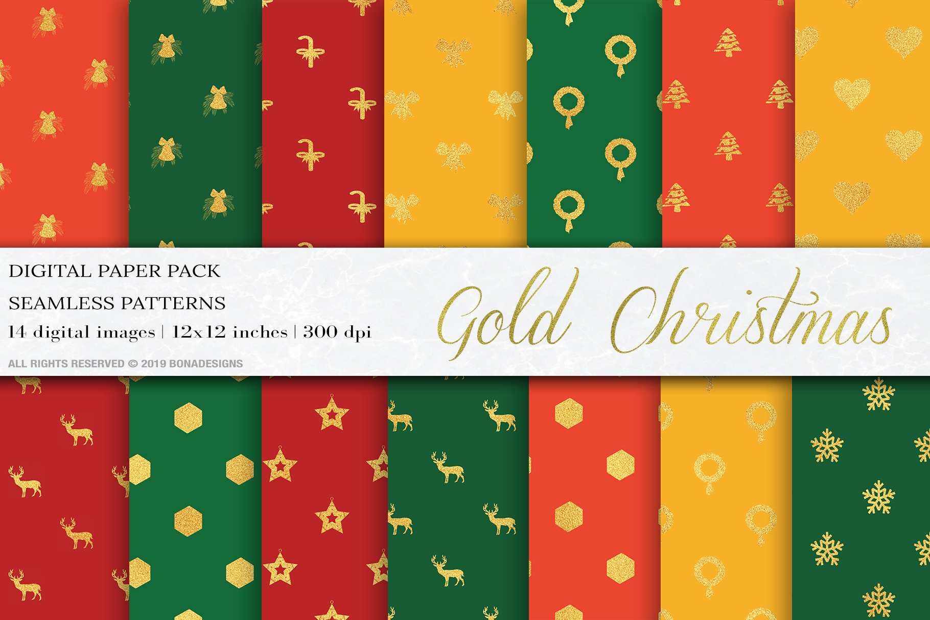 Download Free Gold Christmas Digital Papers Patterns Graphic By Bonadesigns SVG Cut Files