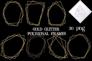Gold Glitter Polygonal Frames Graphic By fantasycliparts