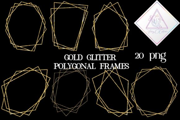 Print on Demand: Gold Glitter Polygonal Frames Graphic Illustrations By fantasycliparts