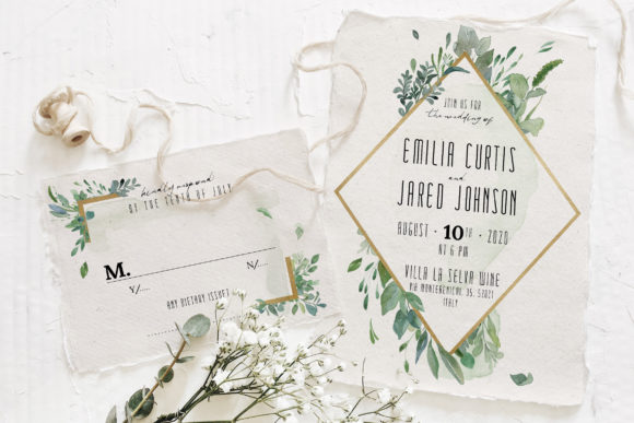 Download Free Gold Greenery Wedding Suite Graphic By Blue Robin Design Shop for Cricut Explore, Silhouette and other cutting machines.