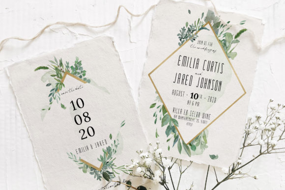 Gold & Greenery Wedding Suite Graphic By Blue Robin Design Shop
