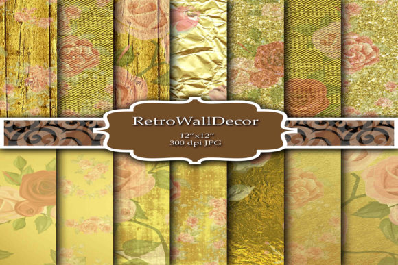 Print on Demand: Golden Digital Papers Graphic Backgrounds By retrowalldecor