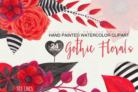 Print on Demand: Gothic Florals Watercolor Clipart Graphic Illustrations By SLS Lines
