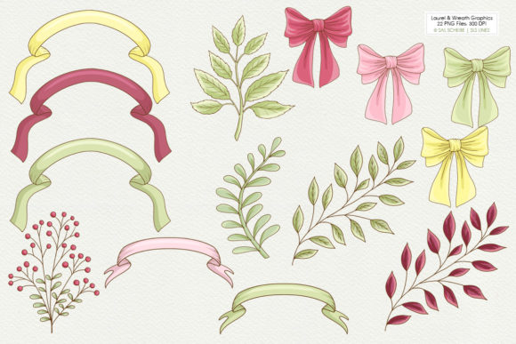 Print on Demand: Graphic Laurels & Wreaths Clipart Graphic Illustrations By SLS Lines - Image 4