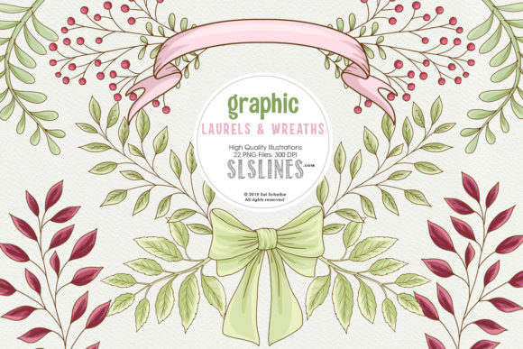 Print on Demand: Graphic Laurels & Wreaths Clipart Graphic Illustrations By SLS Lines - Image 1