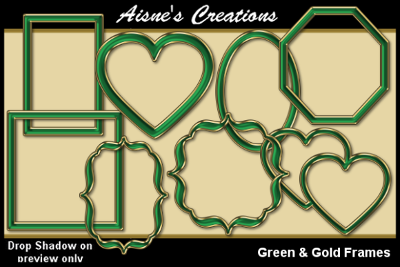 Print on Demand: Green & Gold Frames Graphic Objects By Aisne
