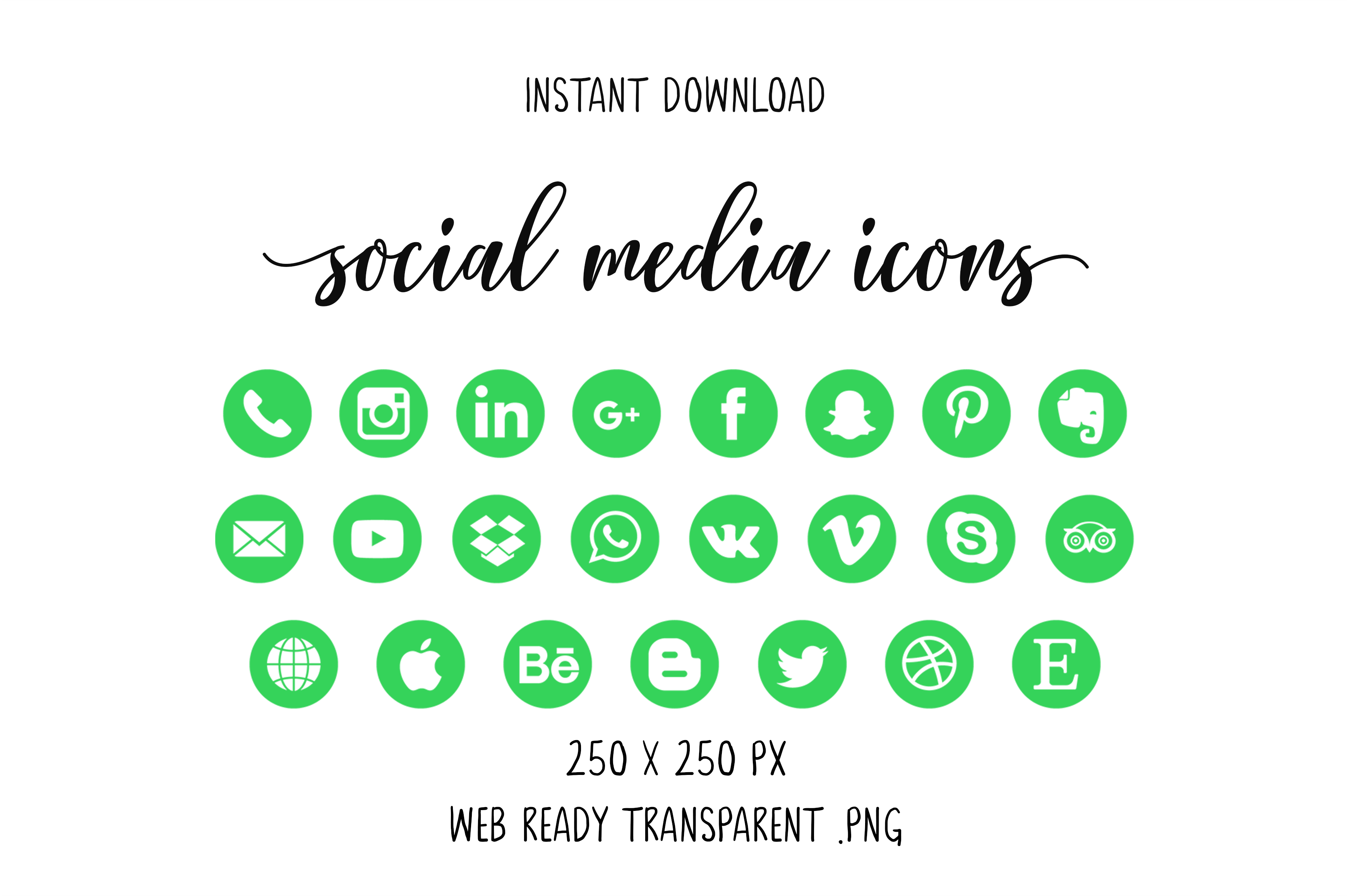Download Free Green Social Media Icons Graphic By The Branding Place for Cricut Explore, Silhouette and other cutting machines.