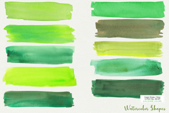 Print on Demand: Green Watercolor Headers and Strips Set Graphic Illustrations By SLS Lines - Image 2